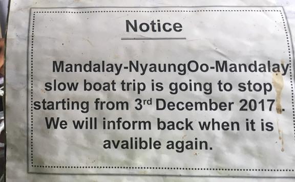 Où réserver le bateau local slow boat mandalay bagan